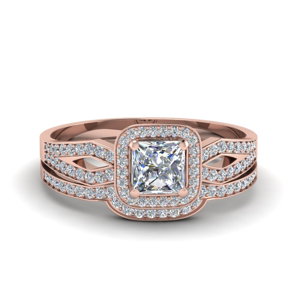 Rose Gold Pave Wedding Set