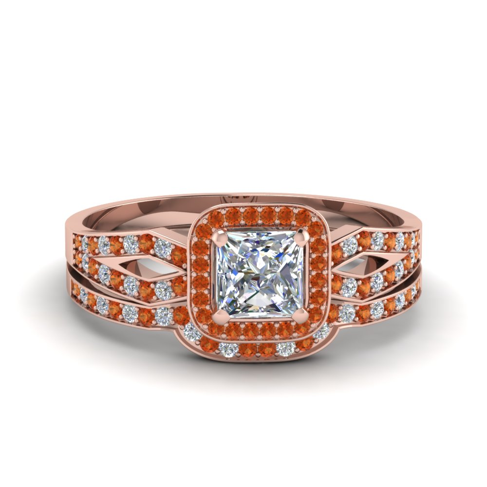 princess cut split shank halo diamond wedding ring set with orange sapphire in 18K rose gold FDENS3240PRGSAOR NL RG