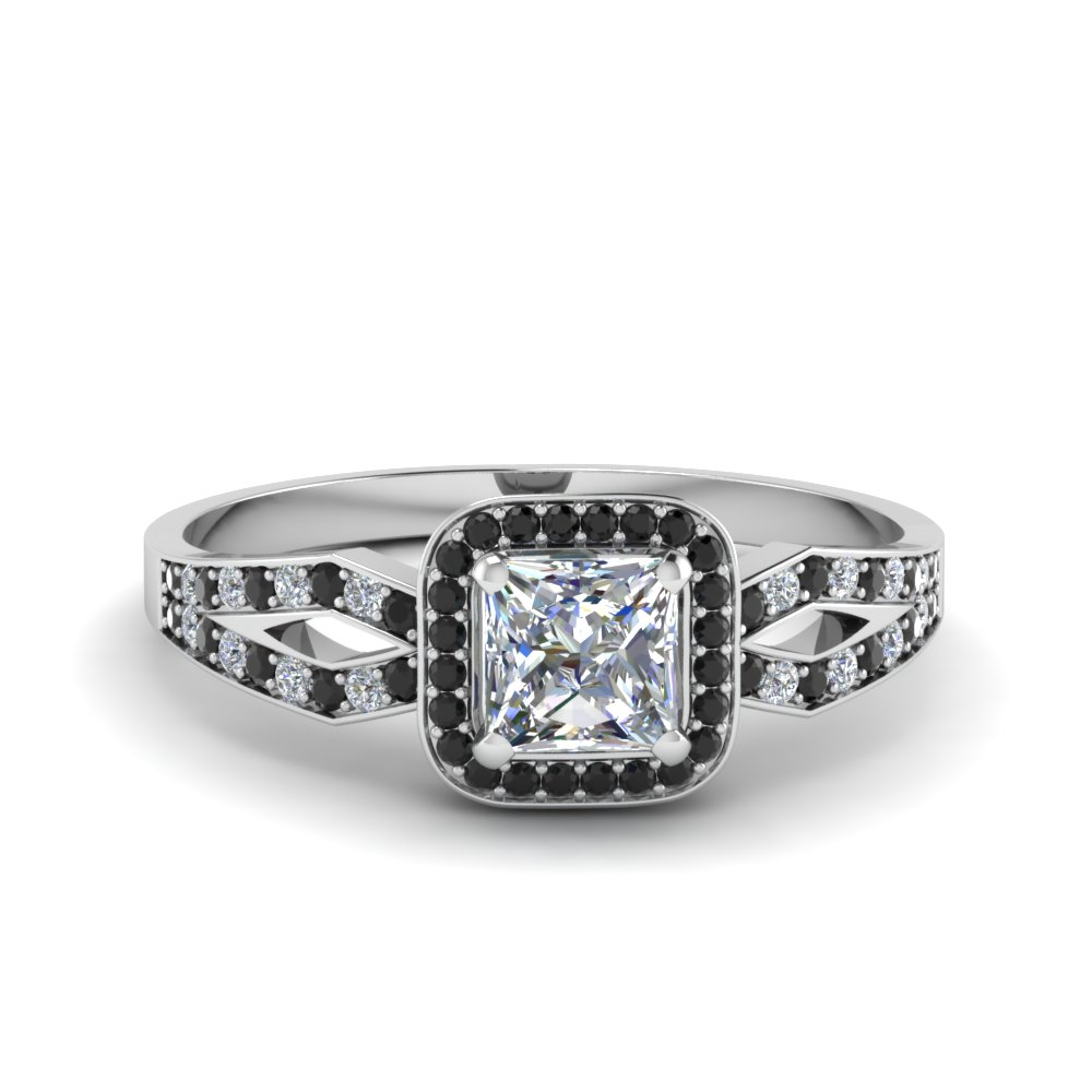 princess cut split shank halo engagement ring with black