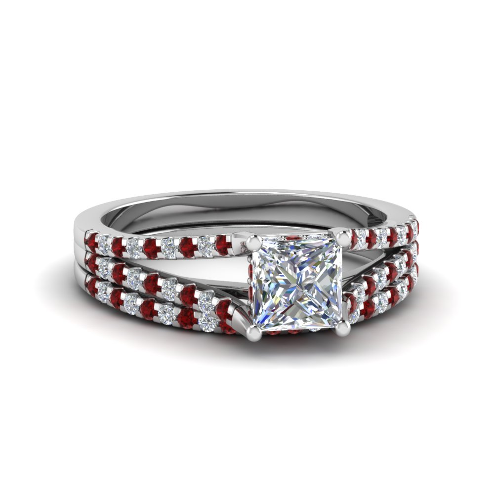 ce6256cbf3ee2b Princess Cut diamond Wedding Ring Sets with Red Ruby in 18K White Gold [  Setting + Center Stone ]