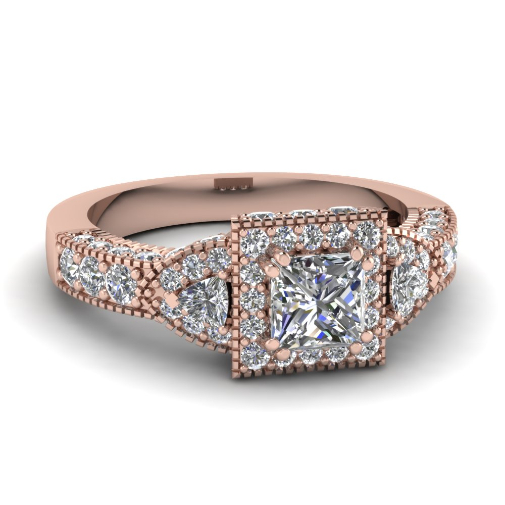 Princess Cut Diamond Vintage Engagement Rings With White Diamond In 18k Rose  Gold