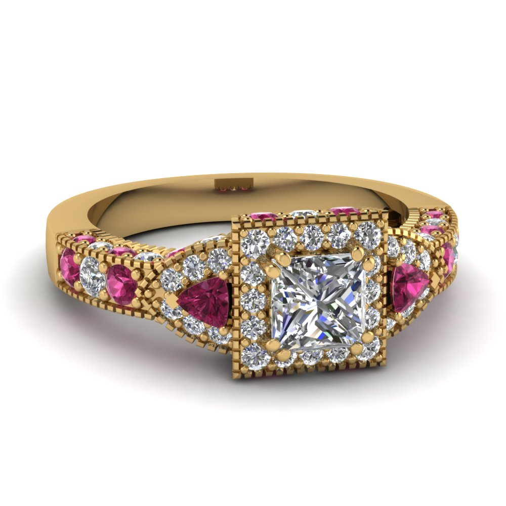 Antique Princess Cut Ring With Pink Sapphire