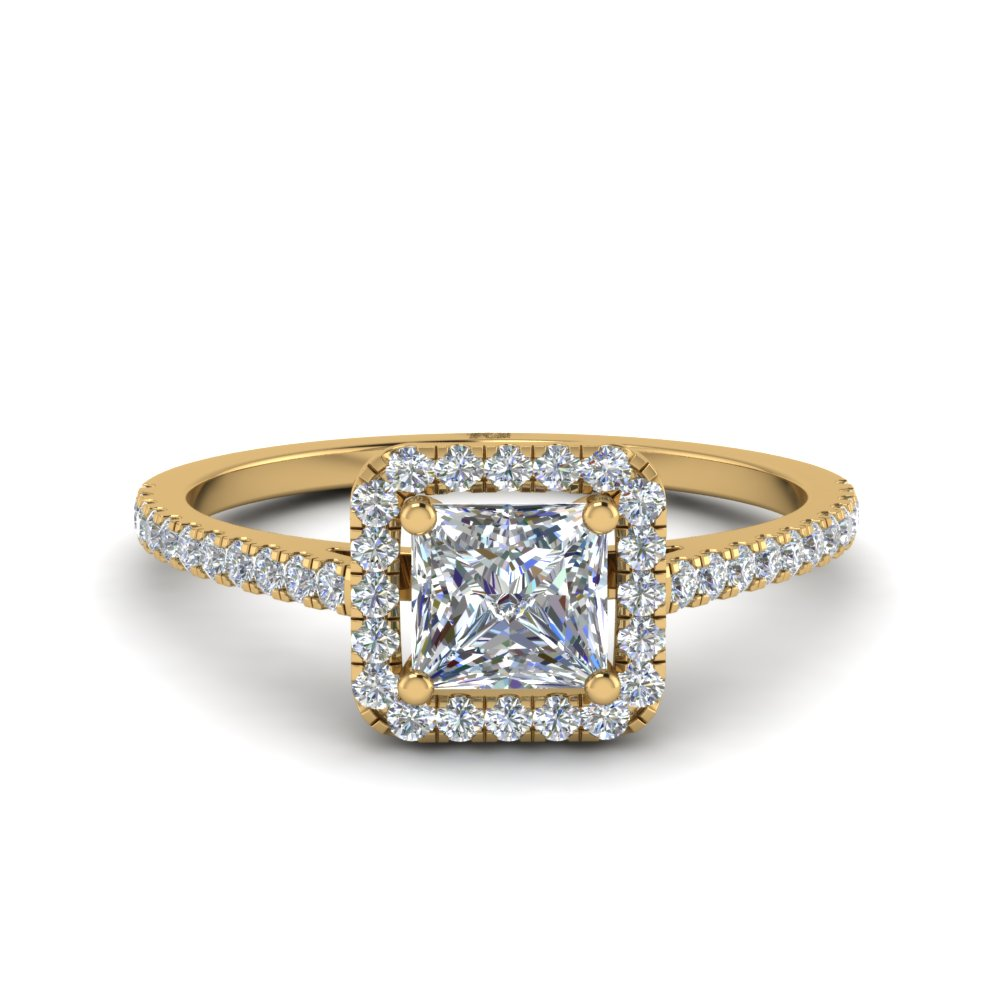 Princess Cut Square Halo Delicate Engagement Diamond Ring In 14K Yellow Gold