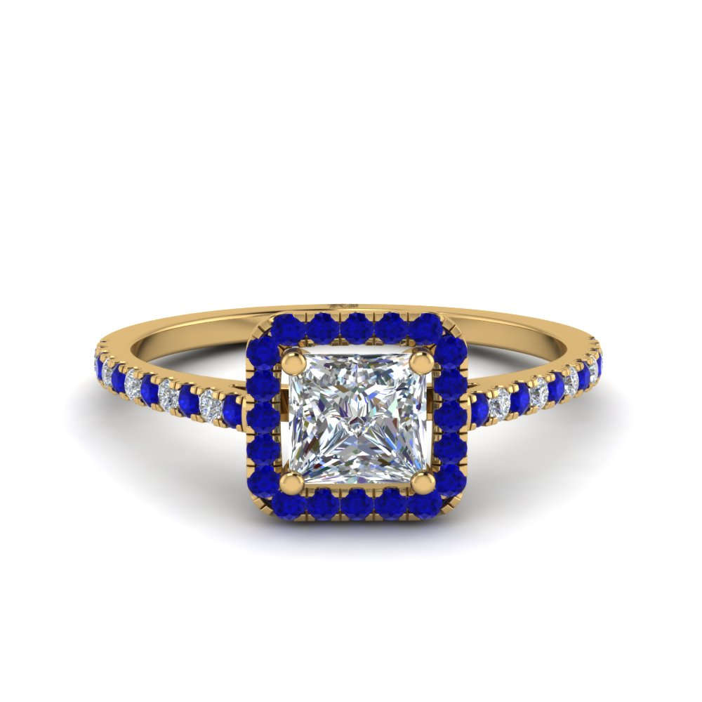 Princess Cut Square Halo Delicate Engagement Diamond Ring With Blue Sapphire