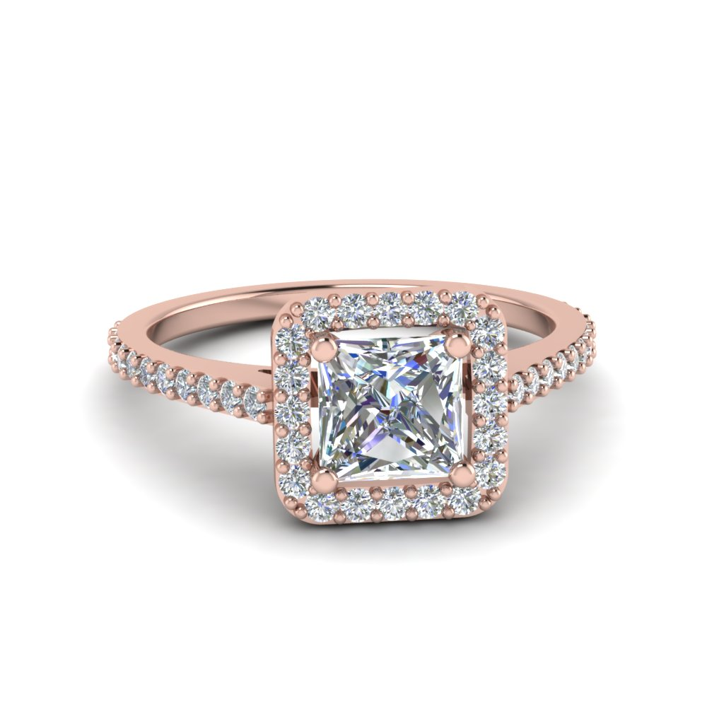 Ravishing 14k Rose Gold Halo Engagement Rings