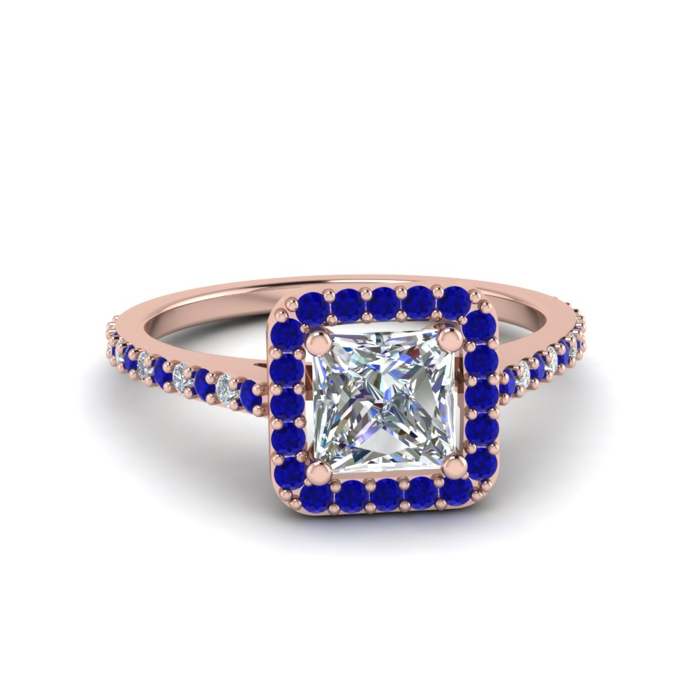 Halo Sapphire Engagement Ring