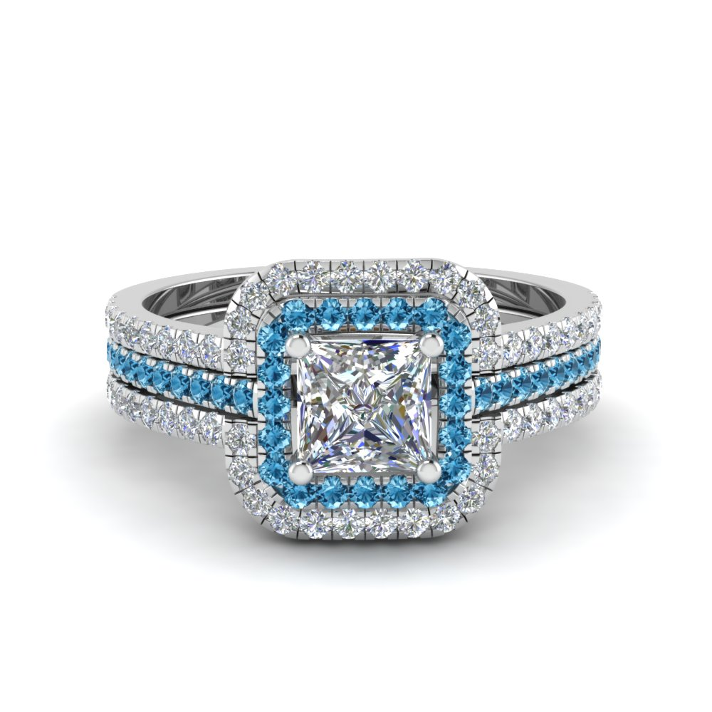 Princess Cut Square Halo Diamond Engagement Ring Guard With Ice Blue Topaz In