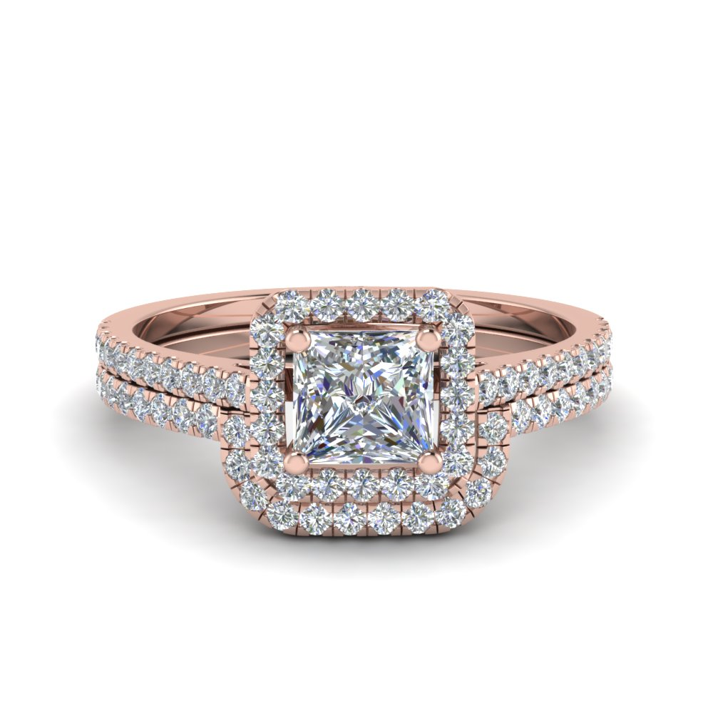 Princess Cut Square Halo Diamond Ring With Cuved Band In 18K Rose Gold