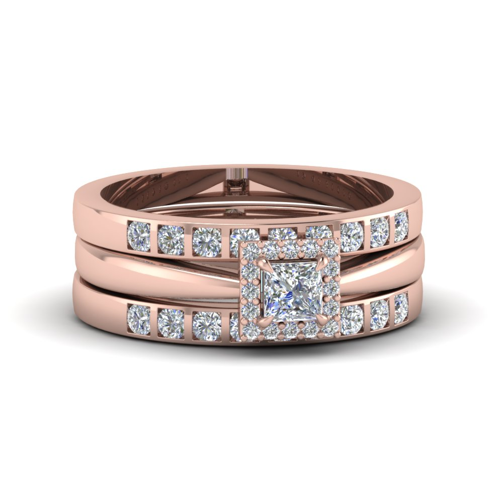 Princess Cut Square Halo Diamond Trio Wedding Ring Sets For Women In