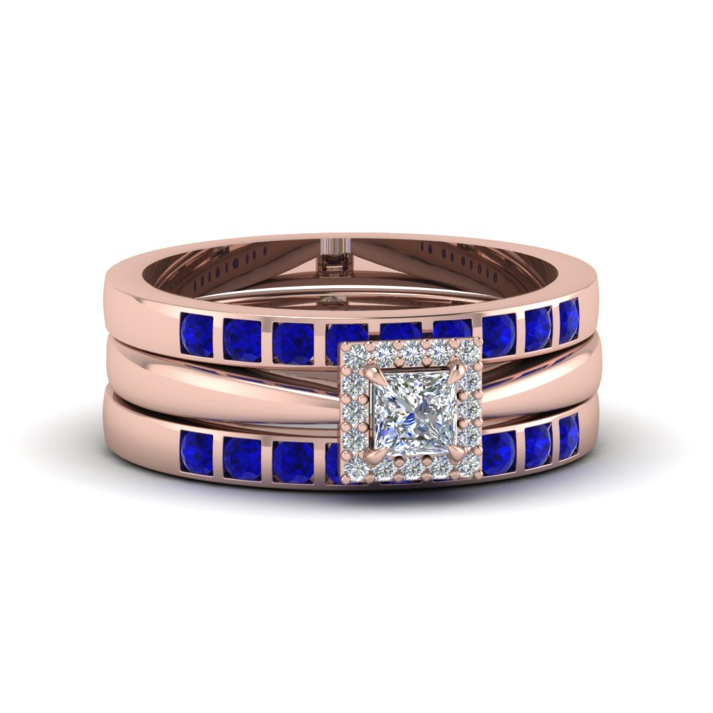 Square Halo Bridal Ring Set For Women