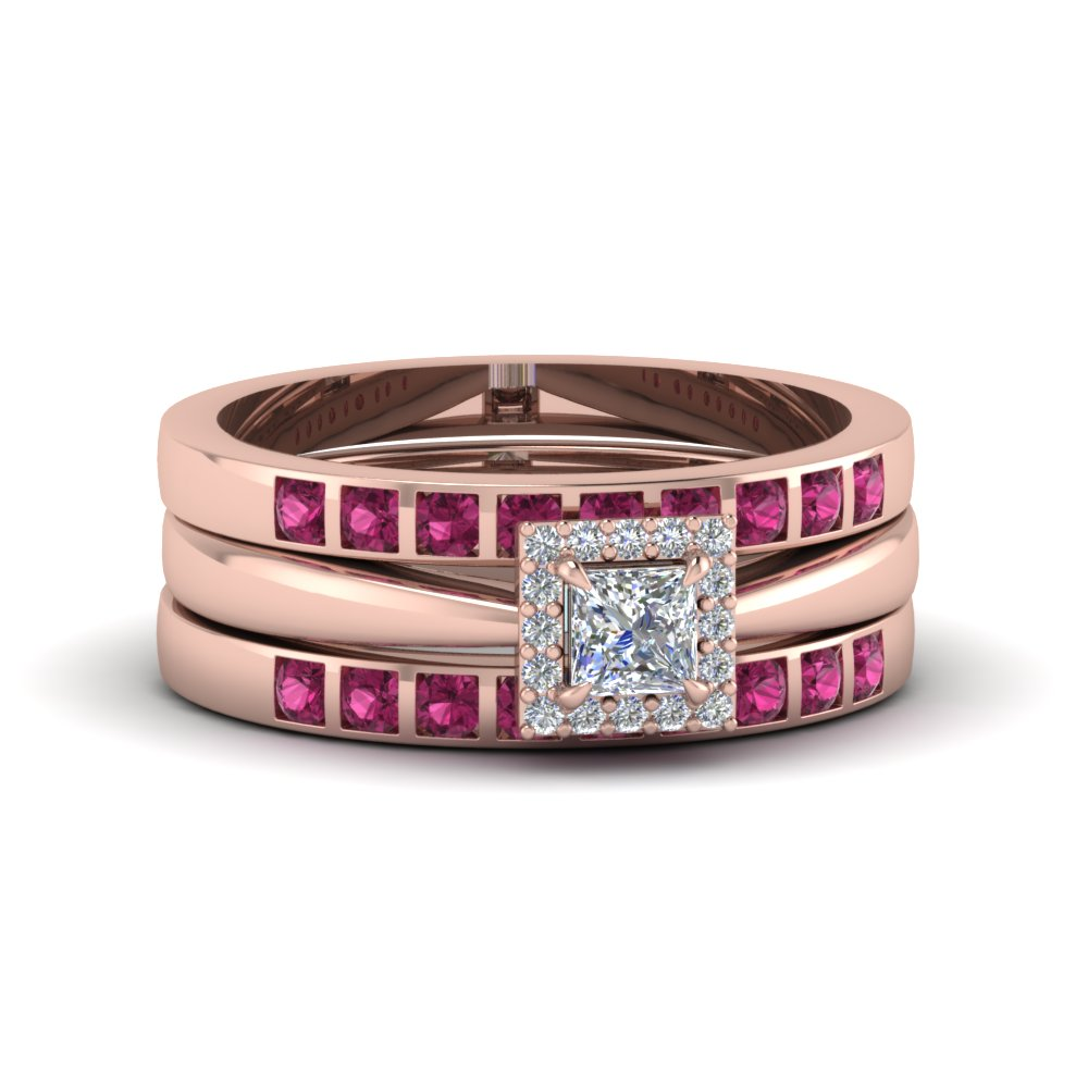 princess cut square halo diamond trio wedding ring sets for women with pink sapphire in 14K rose gold FD8087TPRGSADRPI NL RG