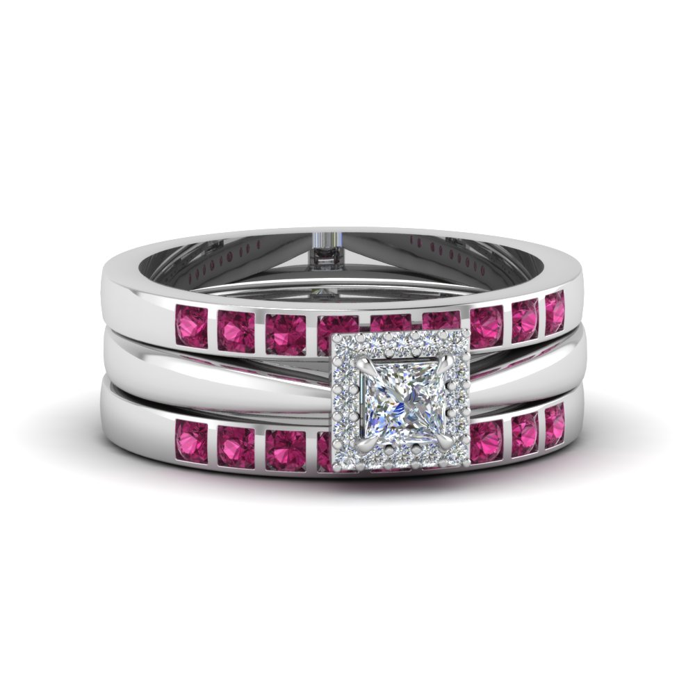 Square Halo Bridal Ring Set