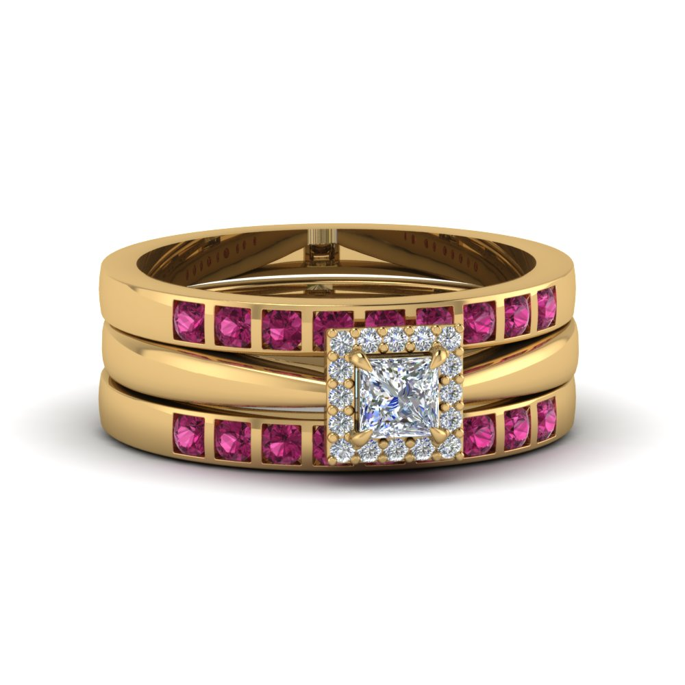 Yellow Gold Trio Wedding Ring Set with Pink Sapphires