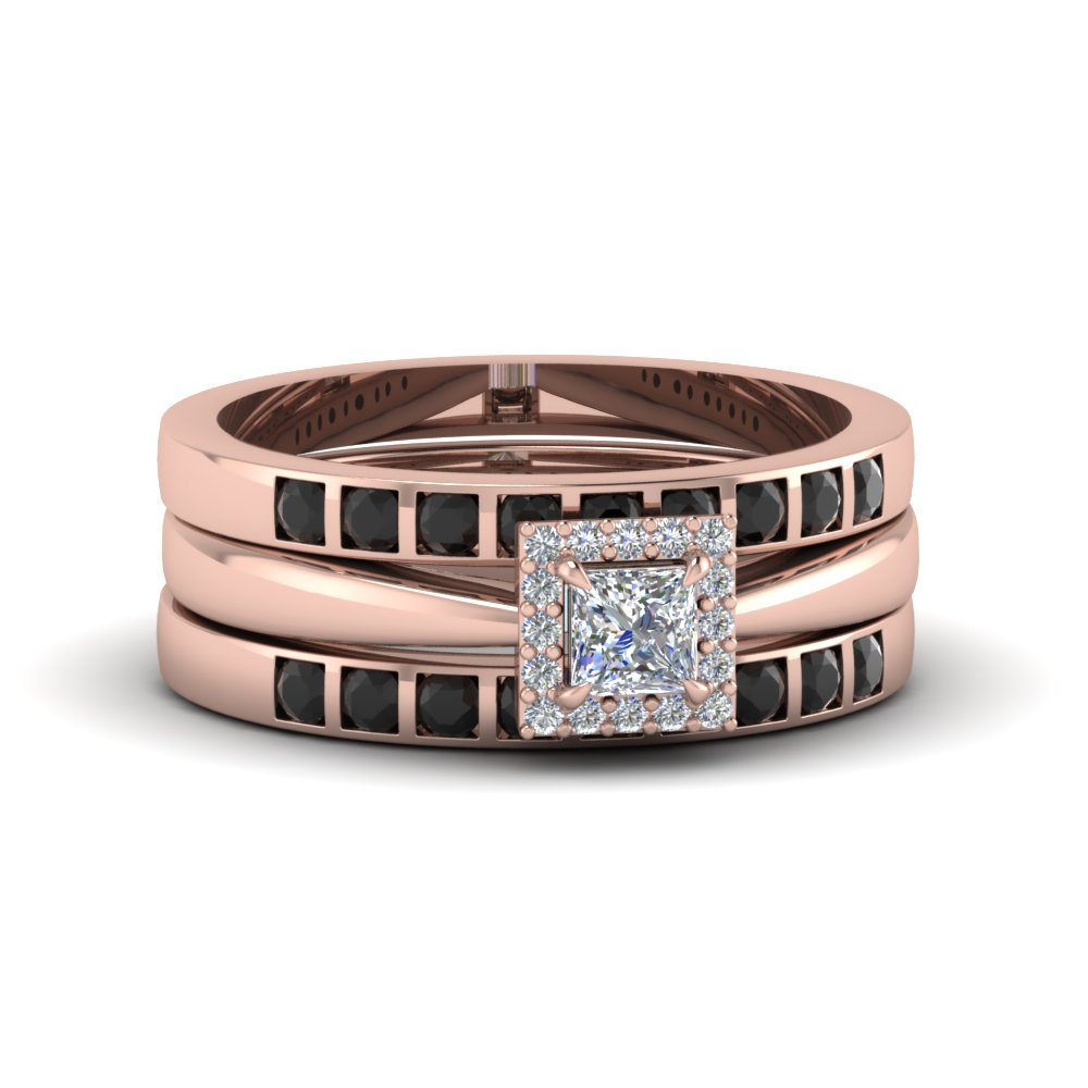 Princess Cut Square Halo Trio Wedding Ring Sets For Women With Black  Diamond In 14K Rose