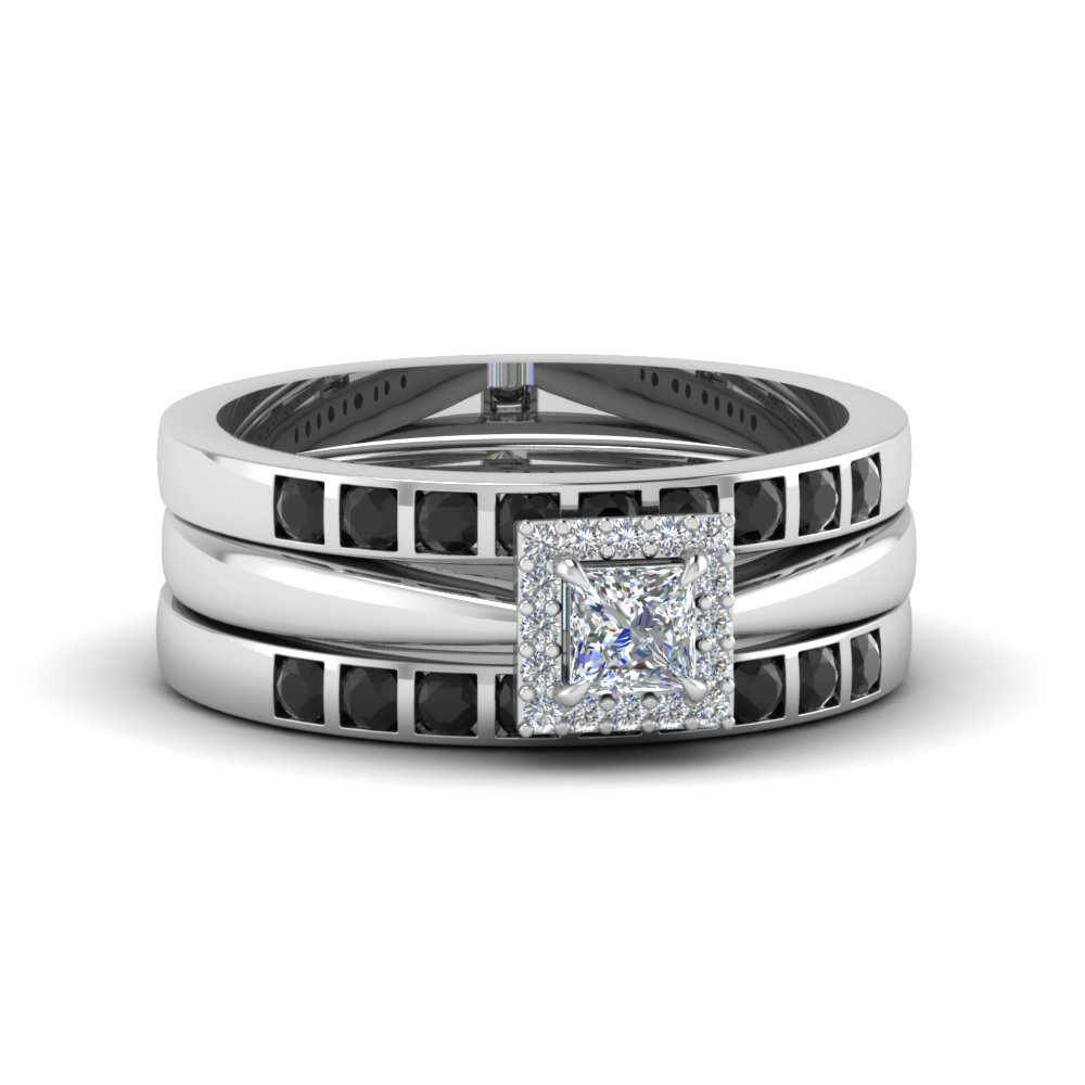 Princess Cut Square Halo Trio Wedding Ring Sets For Women With Black