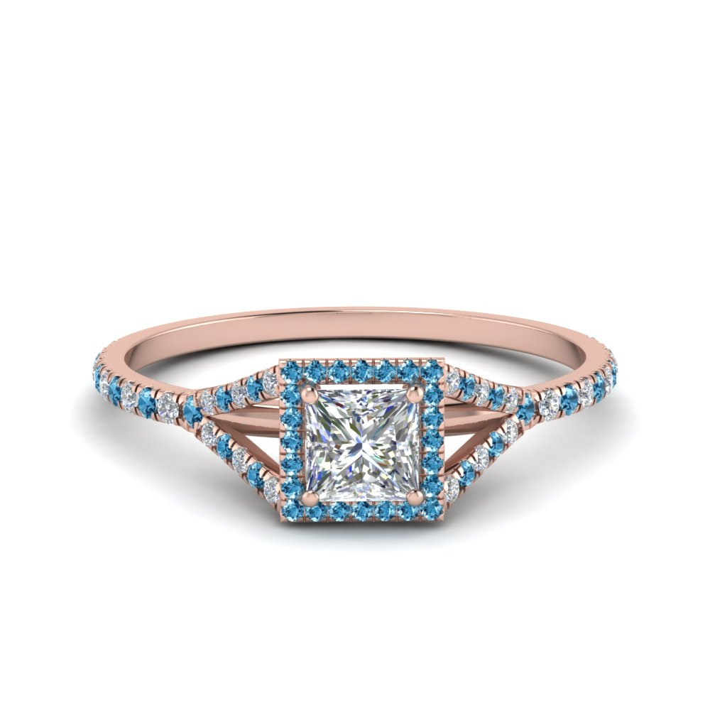 princess cut square split diamond halo engagement ring with blue topaz in 14K rose gold FD8360PRRGICBLTO NL RG