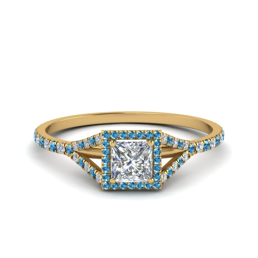 princess cut square split diamond halo engagement ring with blue topaz in 14K yellow gold FD8360PRRGICBLTO NL YG
