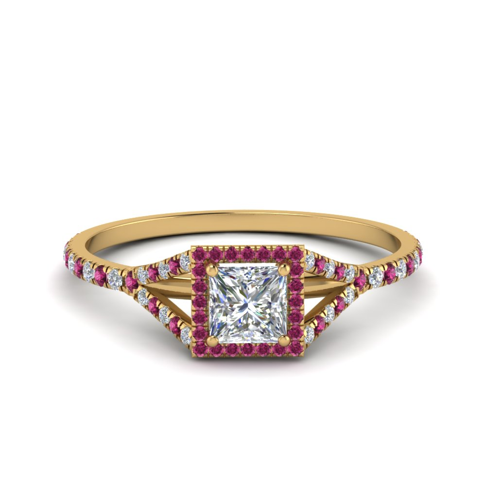 princess cut square split moissanite halo engagement ring with pink sapphire in 14K yellow gold FD8360PRRGSADRPI NL YG