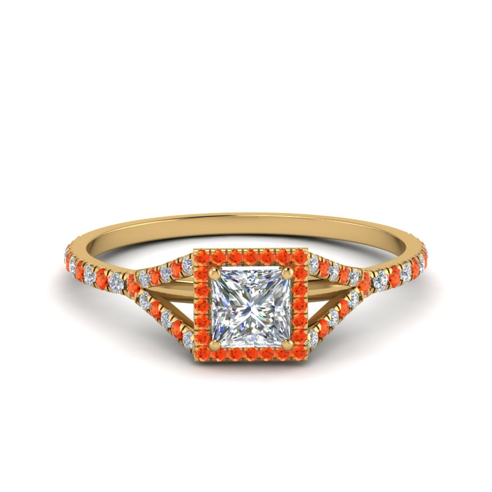 princess cut square split diamond halo engagement ring with orange topaz in 14K yellow gold FD8360PRRGPOTO NL YG