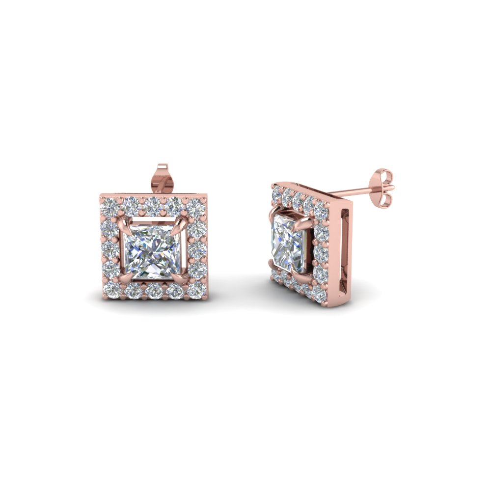 Princess Cut Halo Diamond Earrings