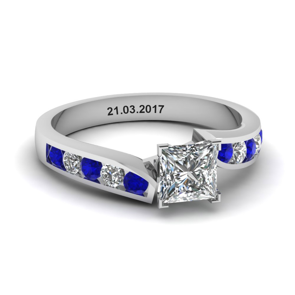 unique swirl princess cut diamond engagement ring with sapphire in FDENR1115PRRGSABL NL WG EG
