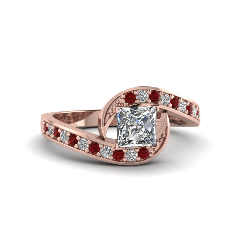 princess cut swirl pave diamond engagement ring with ruby in FDENS3006PRRGRUDR NL RG