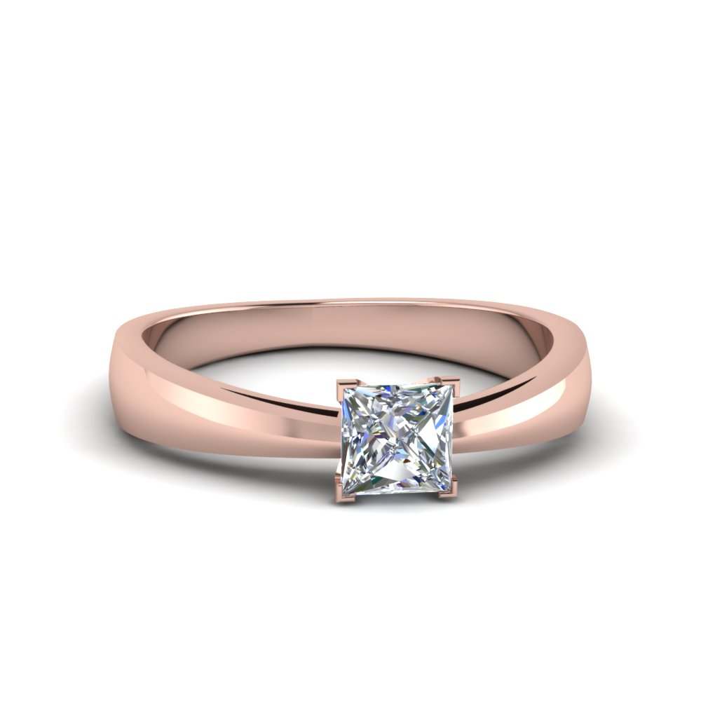tapered princess cut solitaire engagement ring in FDENR678PRR NL RG