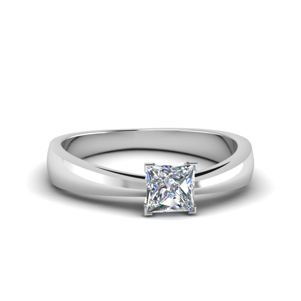 tapered princess cut solitaire moissanite engagement ring in FDENR678PRR NL WG