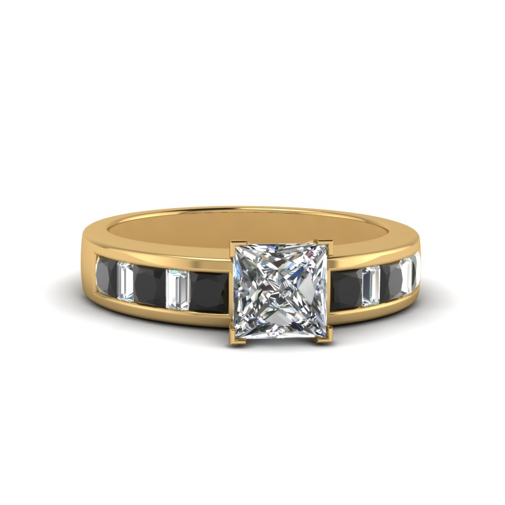 princess cut thick band and baguette engagement ring with