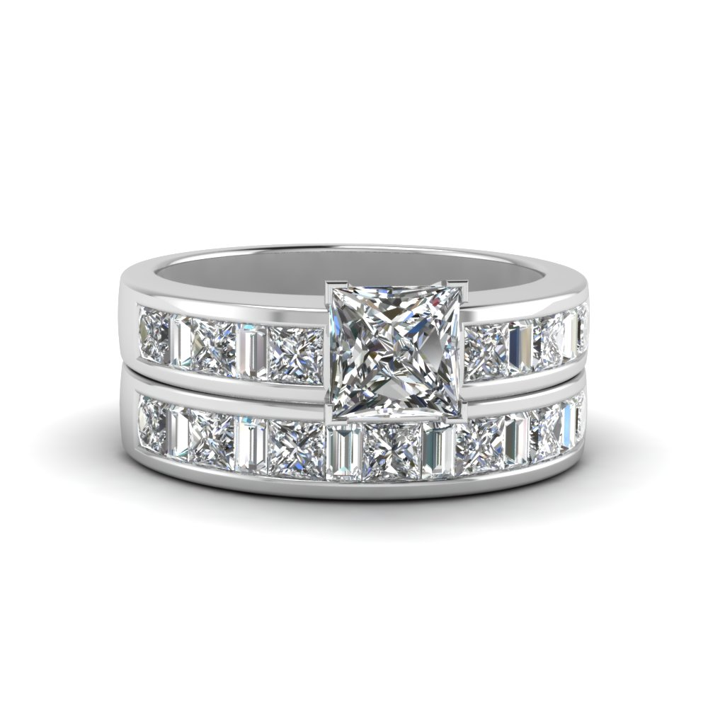 Thick Band With Baguette Wedding Set