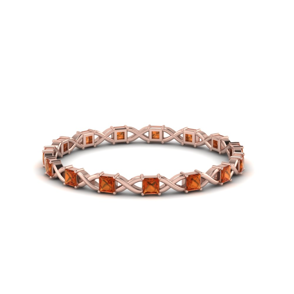 Princess Cut Orange Sapphire Band