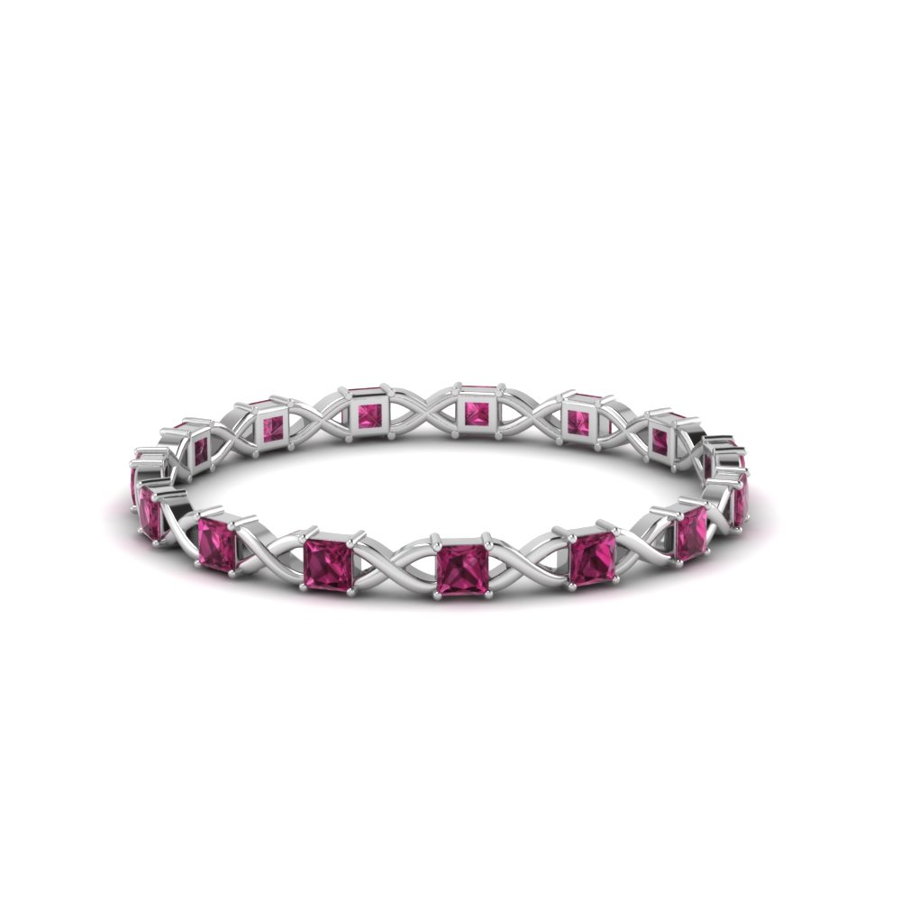 princess cut thin eternity band with pink sapphire in FDEWB123627PRGSADRPI NL WG