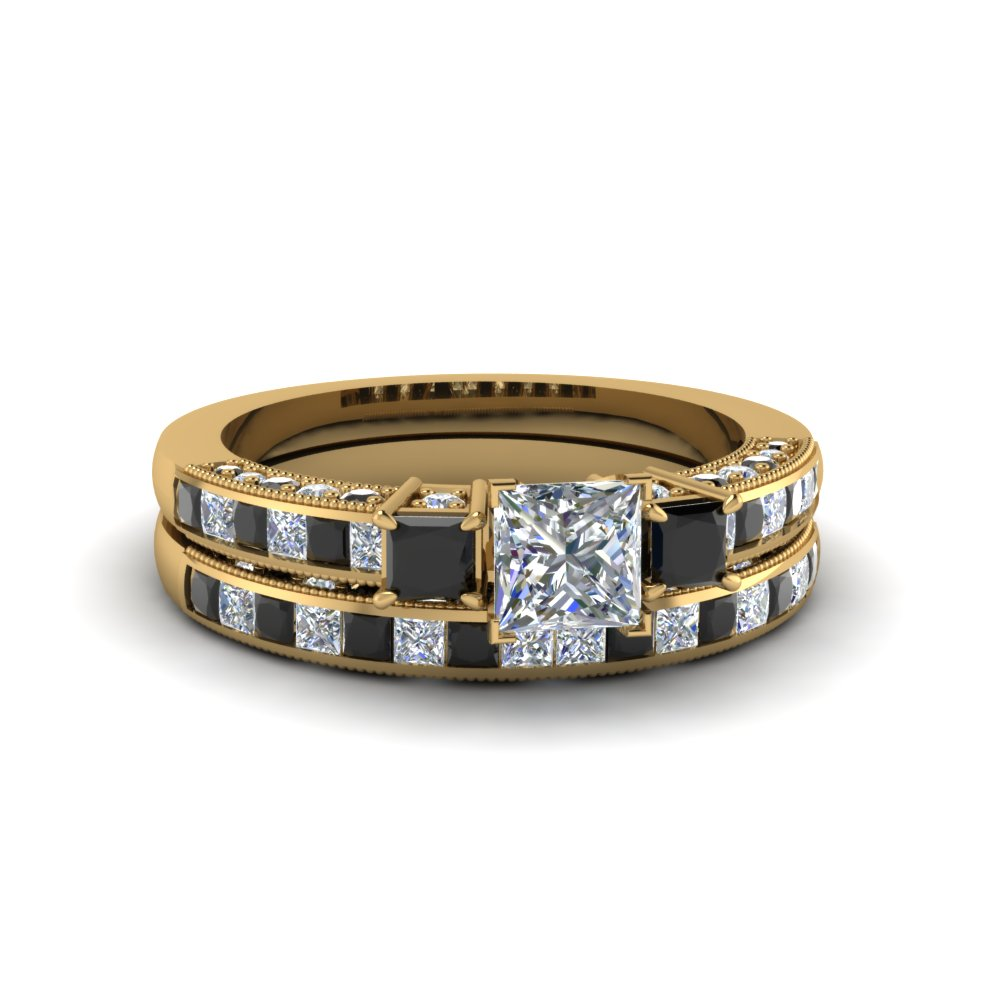 Milgrain Black Diamond Ring Set