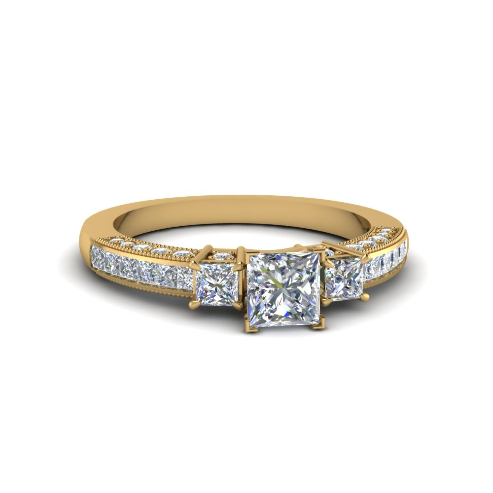 Three Stone Channel Set Diamond Ring