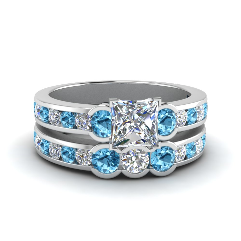 Wedding Set With Blue Topaz