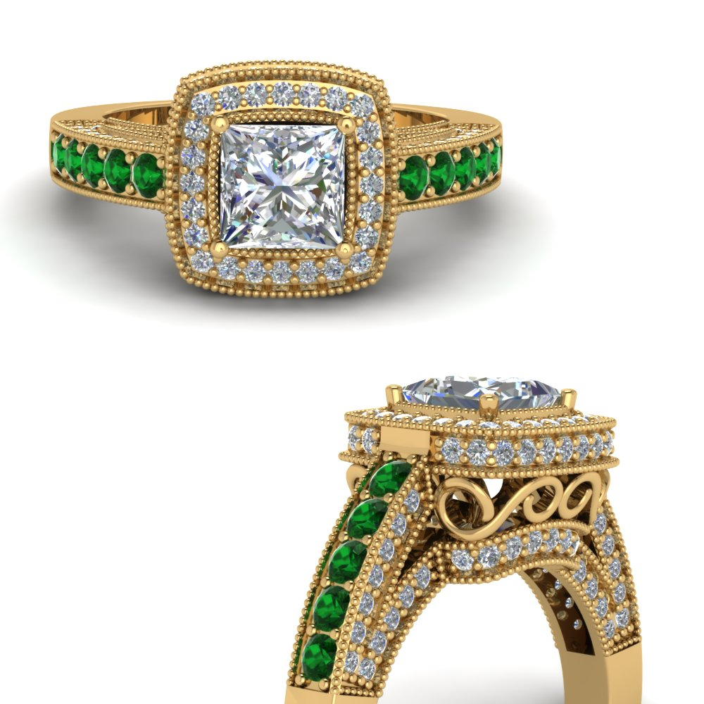 princess cut traditional square halo diamond engagement ring with emerald in FDENR7731PRRGEMGRANGLE3 NL YG.jpg