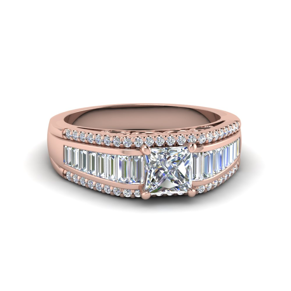 Square Trio Baguette Diamond Ring