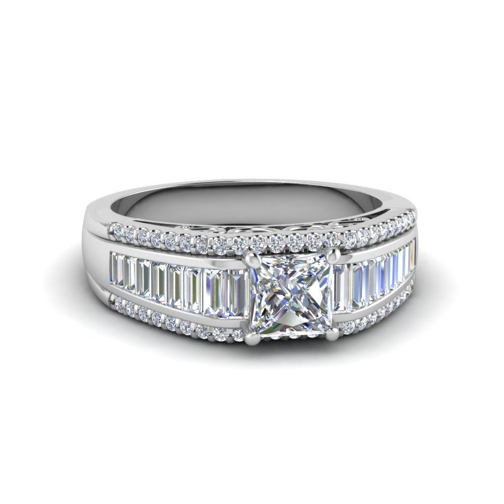 Princess Cut Trio Baguette Diamond Wide Band Engagement Ring In 950 Platinum Fd65555prr Nl Wg