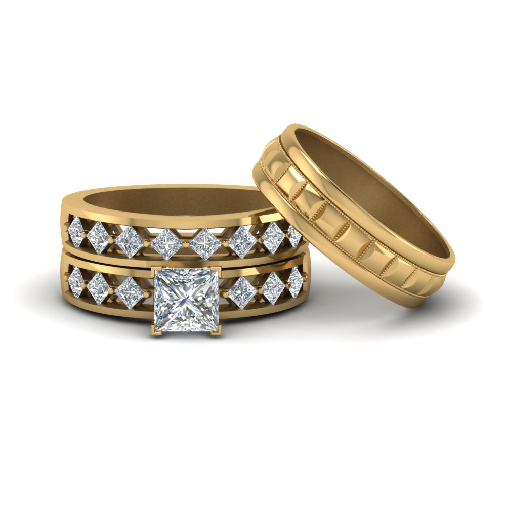 Trio Diamond Wedding Ring Sets For Him And Her Princess Cut Diamond Trio Wedding  Ring Sets With White Diamond In 14k Yellow Gold