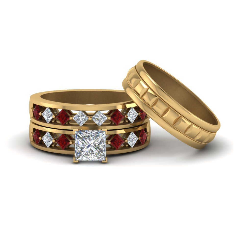 trio diamond wedding ring sets for him and her princess cut diamond trio wedding ring sets with red ruby in 14k yellow gold - Cheap Wedding Ring Sets For Him And Her