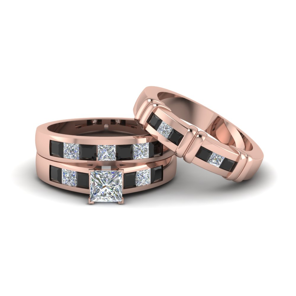 Princess Cut Trio Matching Ring For Him And Her With Black Diamond In 18k Rose Gold