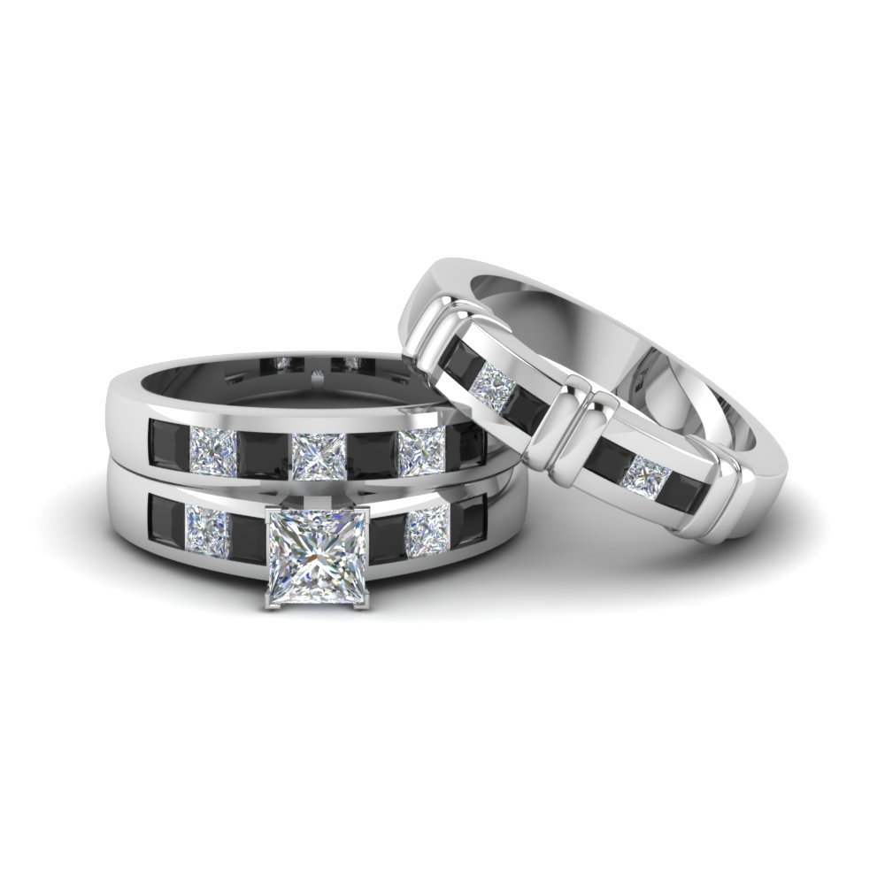 princess cut trio matching ring for him and her with black diamond in 950 platinum fd8222tprgblack - Trio Wedding Rings