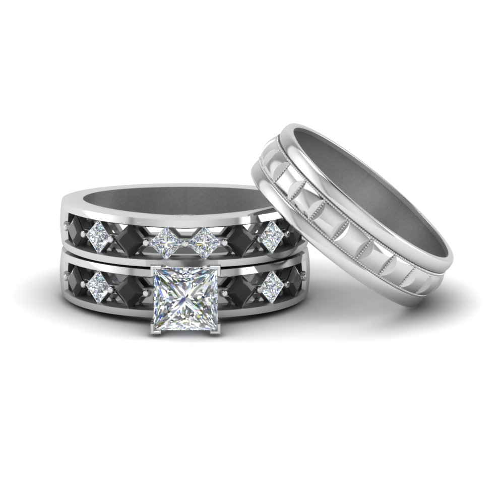 Princess Cut Trio Wedding Ring Sets For Him And Her With Black Diamond In 14K