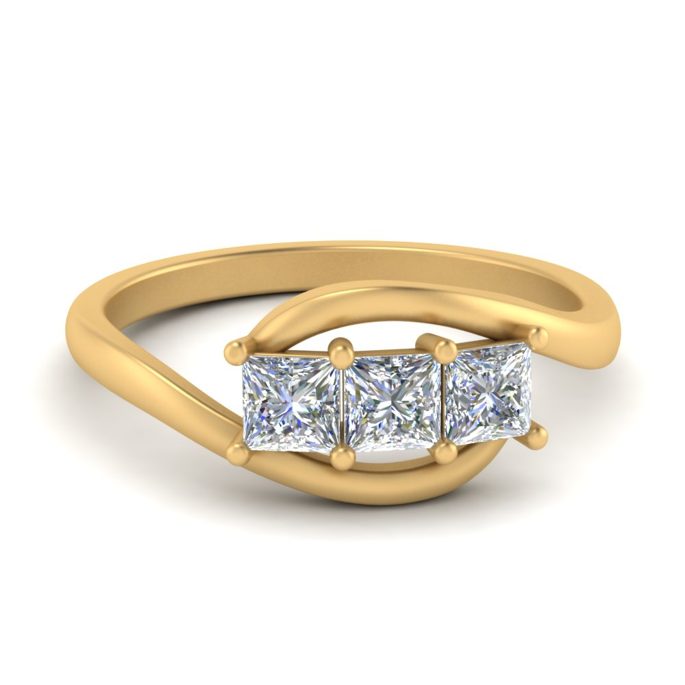 Princess Cut Twisted 3 Stone Ring