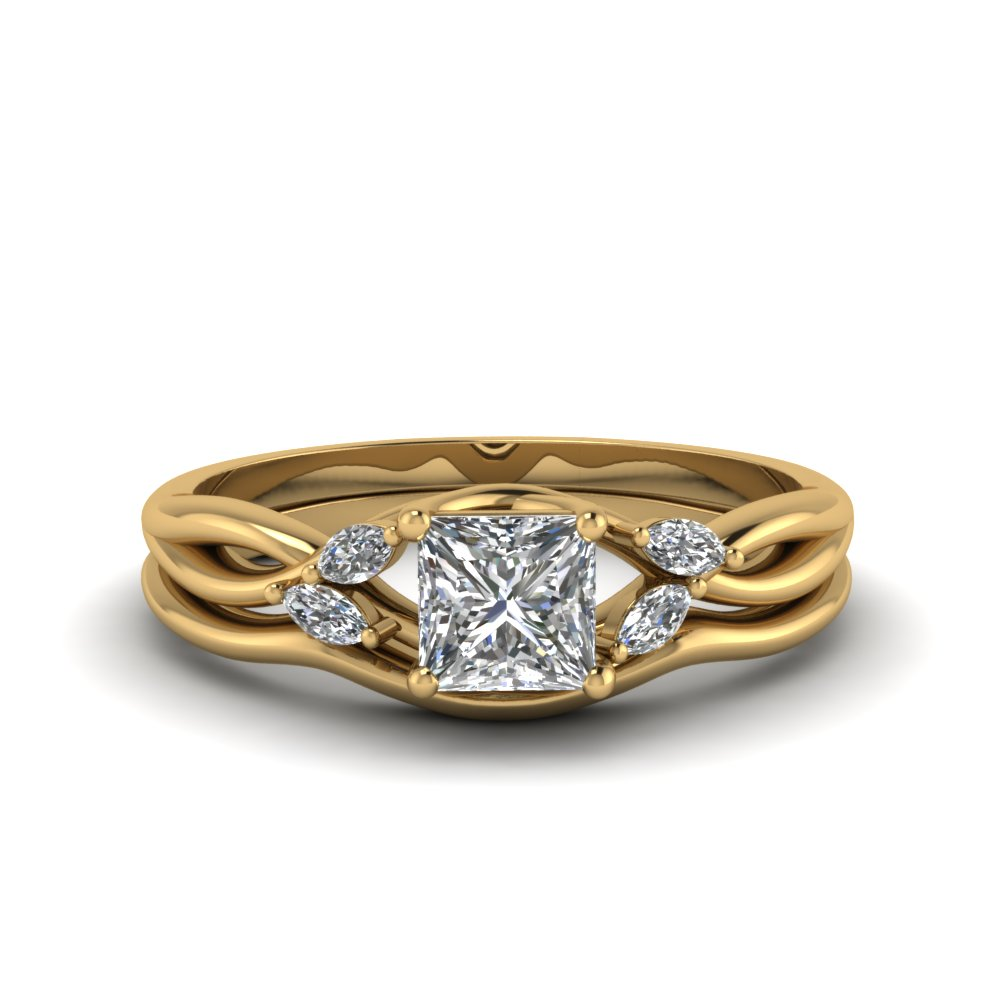 princess cut twisted diamond engagement ring with matching curved band in FD8300PR NL YG