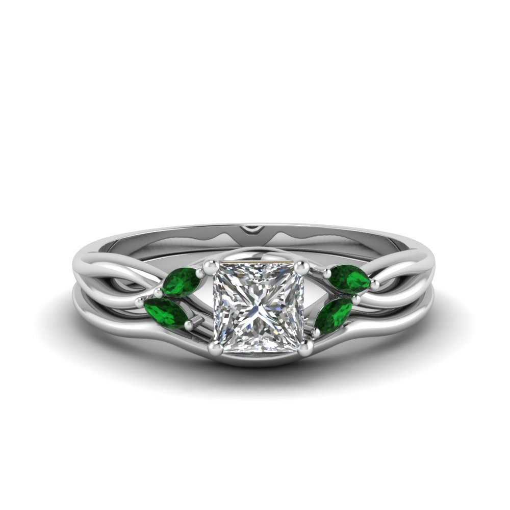 princess cut twisted diamond and emerald engagement ring with matching curved band in FD8300PRGEMGR NL WG