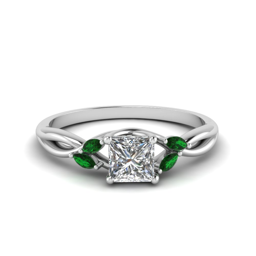 princess cut twisted petal diamond engagement ring with emerald in FD8300PRRGEMGR NL WG