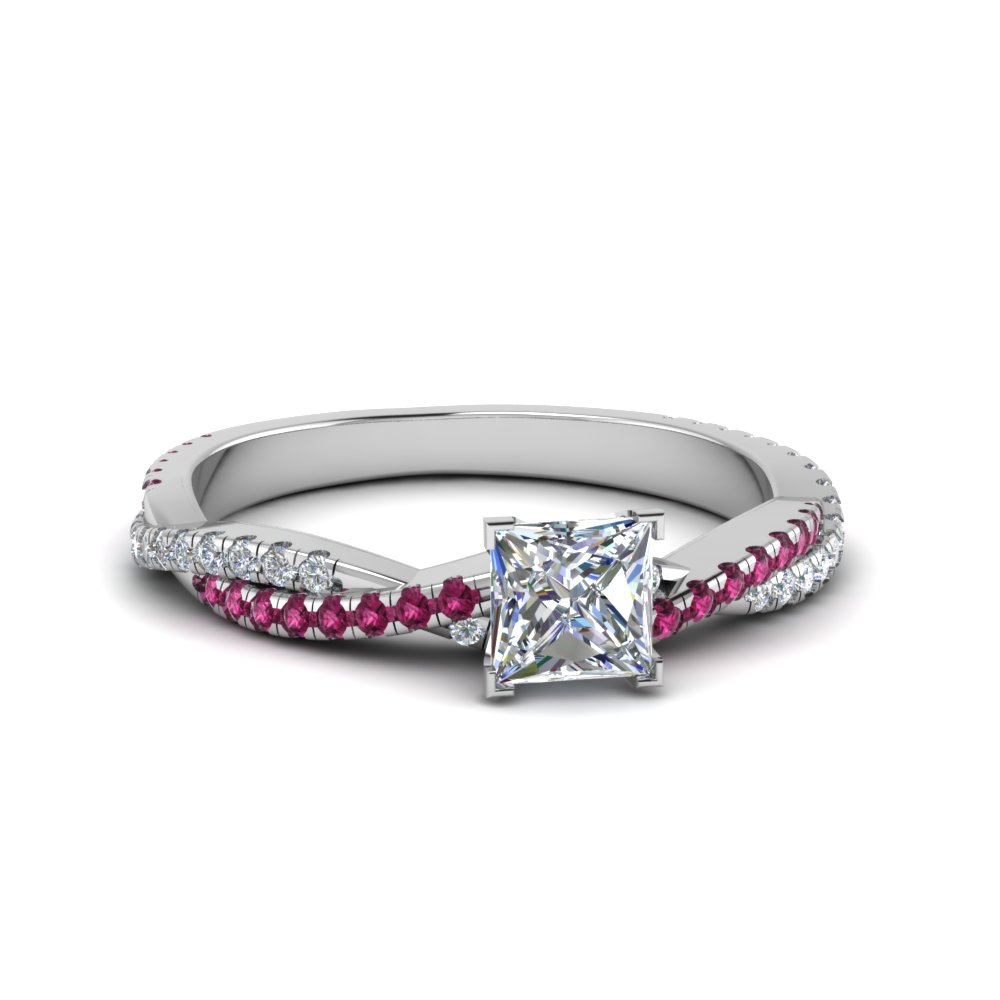 princess cut twisted vine diamond engagement ring for women with pink sapphire in 14K white gold FD8233PRRGSADRPI NL WG