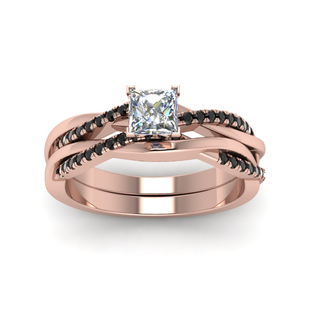Princess Cut Twisted Vine Wedding Ring With Black Diamond Set In 14K