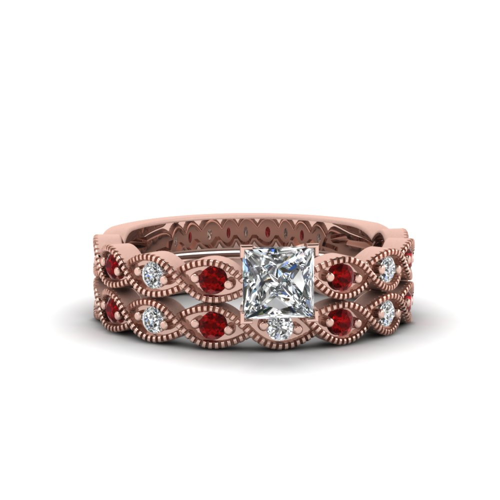 princess cut twisted vintage diamond wedding set with ruby in 14K rose gold FDENS3052PRGRUDR NL RG